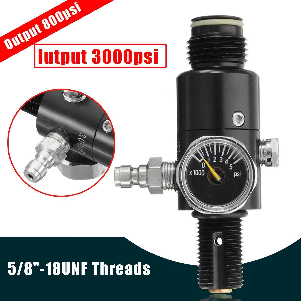 5/8-18UNF Thread Paintball 3000psi HPA Air Tank Valve Regulator Output 800psi Black