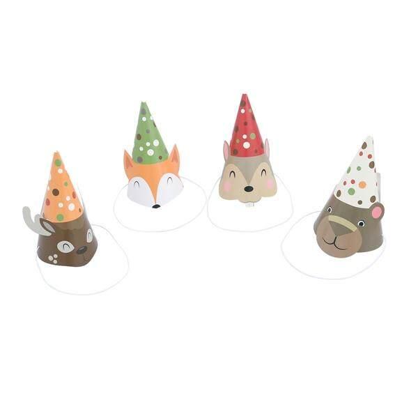 Hình ảnh 4pcs Children Animal Paper Cone Birthay Party Hat Animal Hairdress Decoration (Deer Bear Fox Squirrel)