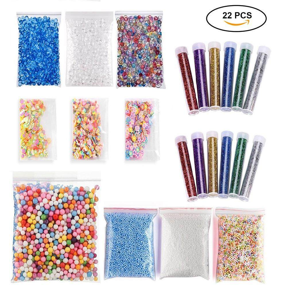 nonof 22 Pack Slime Making Kits Supplies,Fishbowl Beads,Foam Balls,Glitter Shake Jars,Fruit Flower Candy Slices Accessories,DIY Art Craft For Homemade Slime, Wedding And Party Decoration