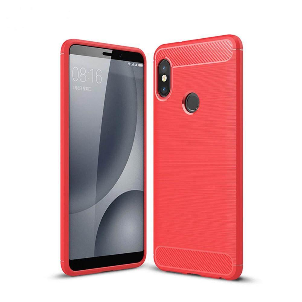Case untuk Redmi Note 5 Pro Anti Guncangan Sampul Belakang Warna Polos Serat Karbon Lembut-