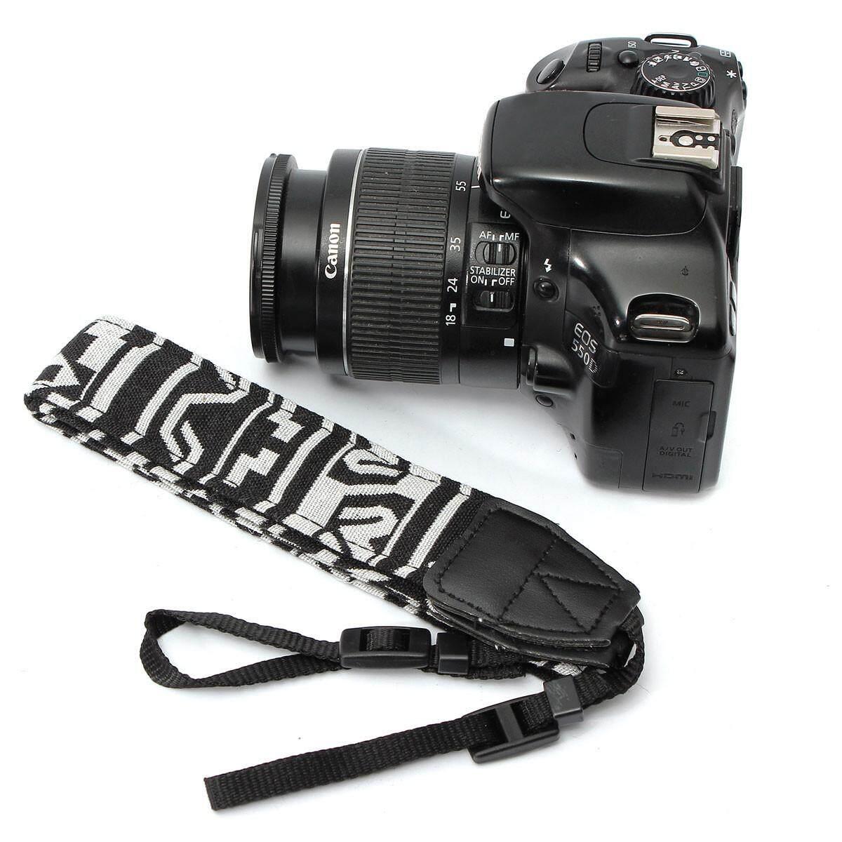 Universal Hitam & Putih Kamera Bahu Leher Tali Sabuk untuk SLR DSLR Nikon Canon