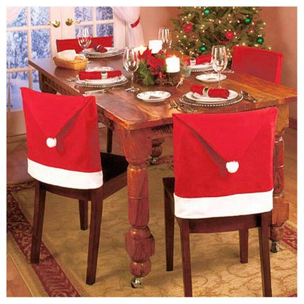 OUYAWEI Santa Claus Hat Dining Chair Covers Soft Comfort Christmas Party Decoration,Set Of 8