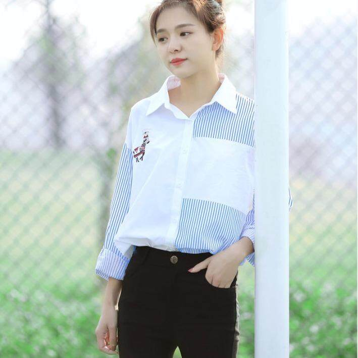 COCOEPPS Spring 2018 the New Korean Style Embroidery Stripe Long Sleeve  Show Thin Women Shirt. c541c49a30