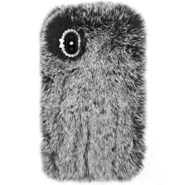IPhone X Case, crosspace IPhone10 Case Potongan Pas Badan BLING Berlian Mewah Musim Dingin Lembut Hangat Bulu Kelinci Palsu Fuzzy Mewah dengan Kristal Lucu Pelindung Penutup Belakang untuk Apple iPhone 10 (2017) -Abu-abu-Intl