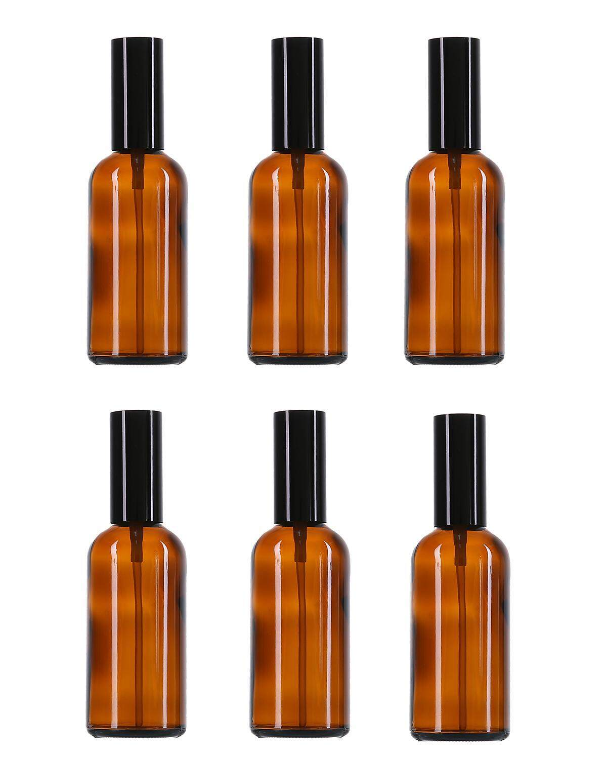 yuwen 6 Pcs Amber Glass Spray Bottles,3.4 Oz (100ml) With Plastic Black Fine Mist Sprayers, Dust Caps-Perfect For Various Dilutions Of Liquid - intl