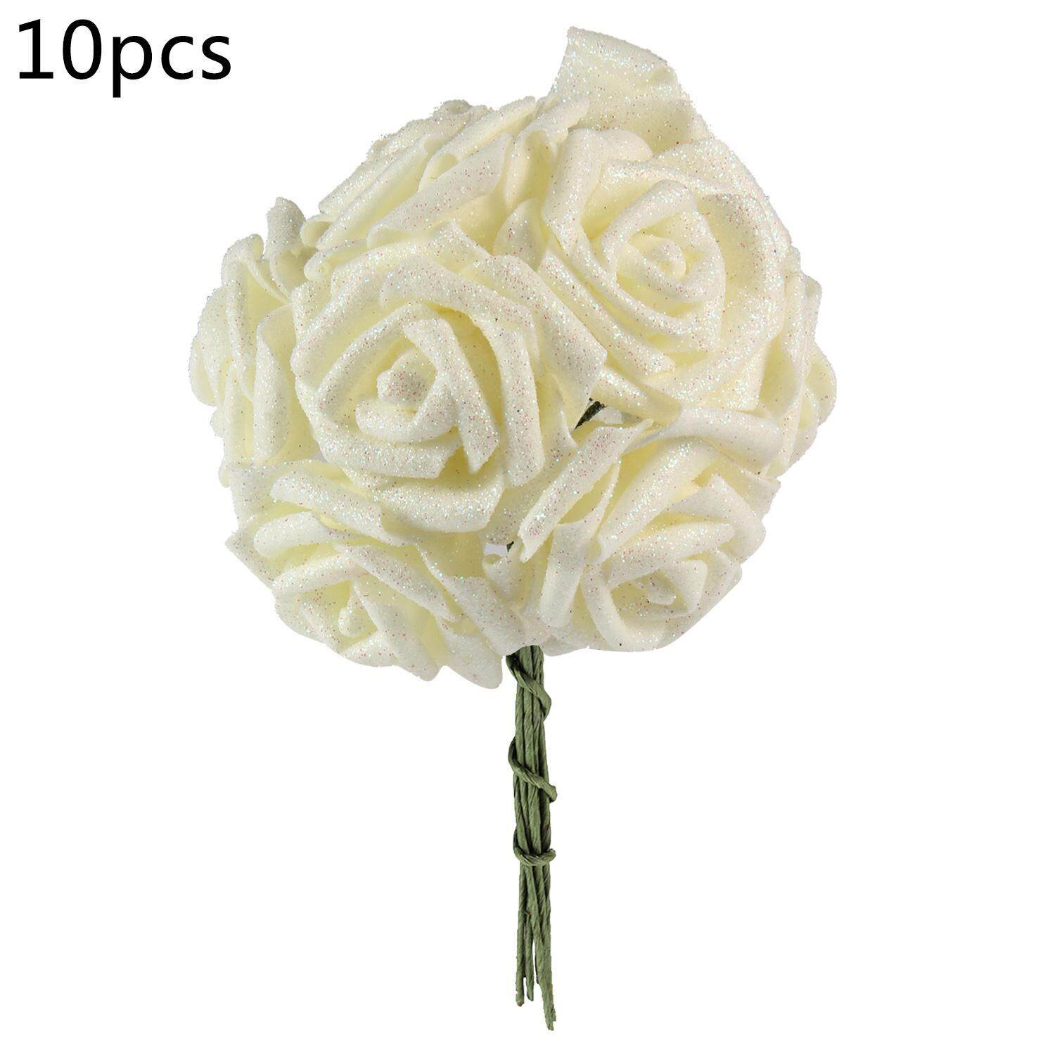 goges Wedding Bridal Bouquet Artificial Flower, Silk Roses Bridesmaid Bouquet Fake Flower For Children, Kids, Wedding, Party, Church (10 Pack) White