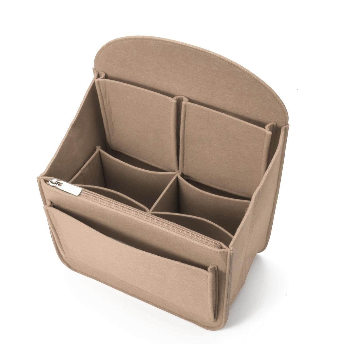 Felt Backpack Organizer Insert Travel Bag Multi Pockets Makeup Round Handbag 27x15x35cm Beige - intl
