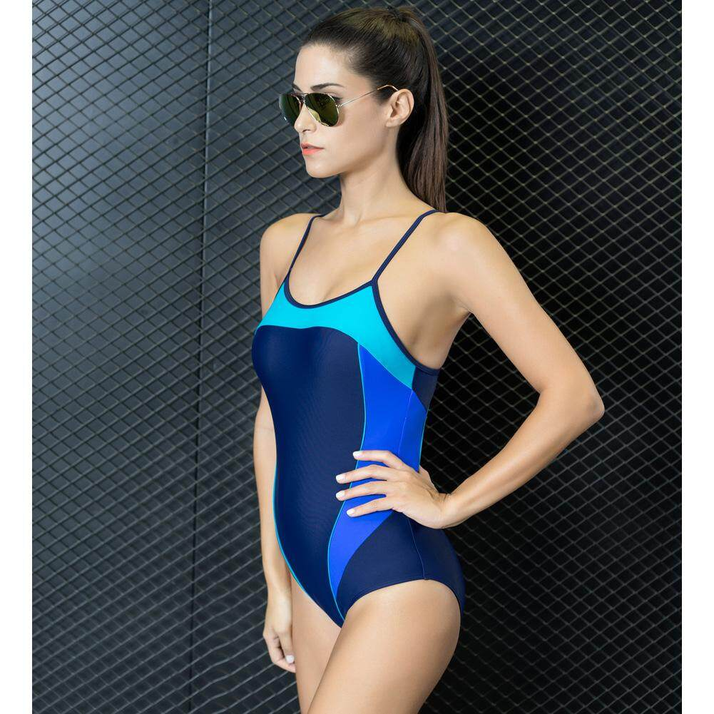 f40b9a044dfc6 Sexy Women One-Piece Swimwear Color Splice Cut out Strappy Sleeveless  Padding Wireless Bathing Suit