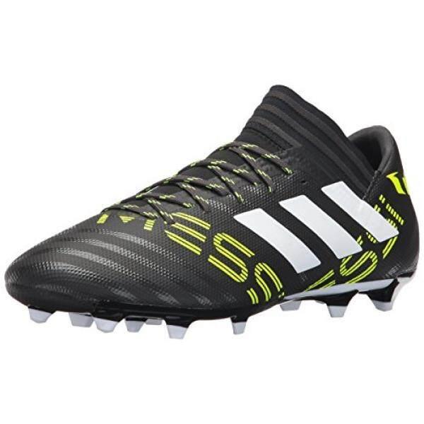 Adidas Pria Nemeziz X 17.3 Firm Ground Cleat Sepak Bola Shoe, Hitam/Putih/Tenaga Surya Kuning, (8.5 M AS)-Internasional