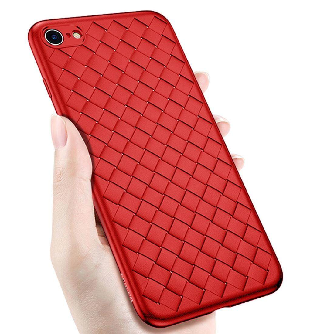 Fitur For Iphone 7 Plus Ultra Fiber Tpu Protective Back Case Red Dan