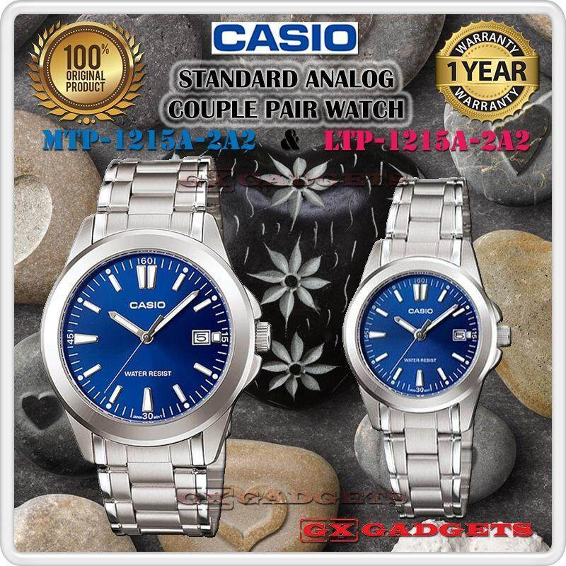 CASIO MTP-1215A-2A2 + LTP-1215A-2A2 STANDARD Analog Couple Pair Watch Date Stainless Steel Band WR MTP-1215 LTP-1215 1215A Series Malaysia