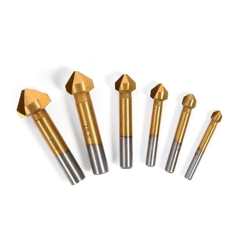 6 Pcs/set HSS Titanium Sepanjang Betis Tiga Tepi Talang Chamfering Ujung Pisau Frais Bor Countersink Hardware-Internasional