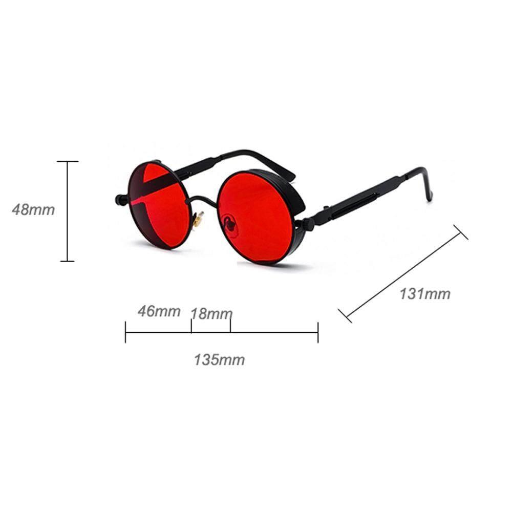 4d0627f6d Black Metal Round Steampunk Sunglasses Men Women Fashion Summer 2018 Pink  Blue Yellow Red Round Sun Glasses for Women Unisex.