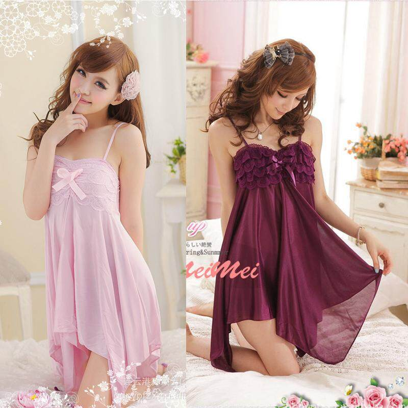 5ac776c19189 Summer Cute Princess Ice Silk Sling Nightdress Transparent Lace Pajamas  Temptation - intl