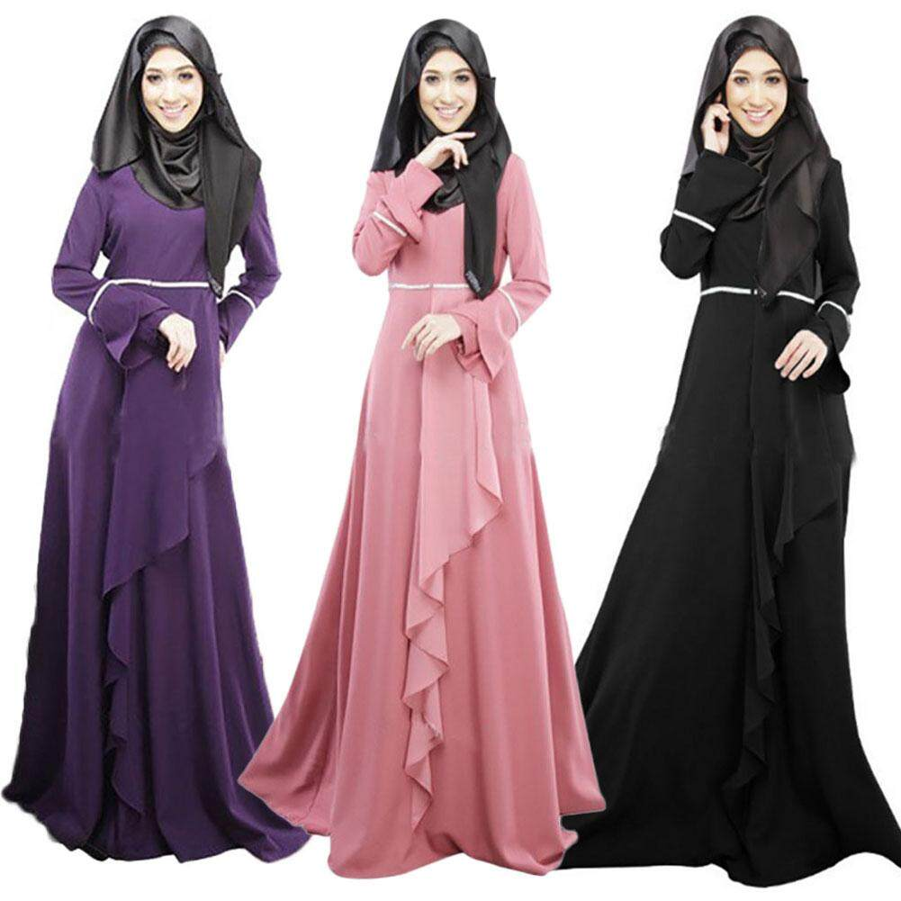 The Cheapest Price Muslim Women Maxi Dress Open Abaya Islamic Lace Anneyep Printed Flowers Kaftan Elegant Ruffles Chiffon Intl