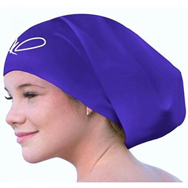 Lahtak Perdagangan; Tambahan Besar Renang Tutup-Premium anti-Air Silikon Berenang Topi untuk Rambut Panjang Wanita & Pria Dirancang untuk Rambut Tebal, keriting atau Gimbal Rambut Setelan Perenang Rekreasi (Bluebonnet Biru)-Internasional