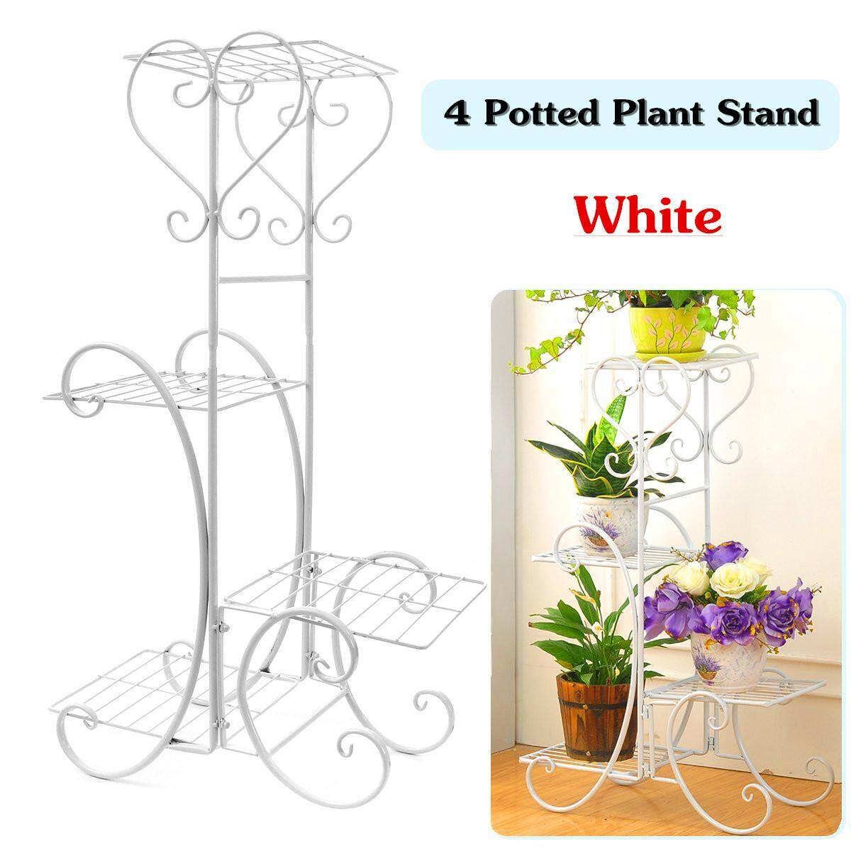 4 TIER Metal Shelves Flower Pot Plant Stand Display Indoor Outdoor Garden Patio (White) - intl
