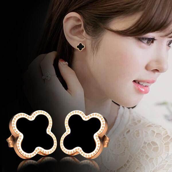 Nuo Cinta Korea Modis Mawar Emas Empat Daun Semanggi Anting Wanita Temperamen Anting-Anting Hitam Hari Valentine Ulang Tahun Pacar Hadiah model Hitam Sepasang Harga (Putih Bagian Harga) -Internasional