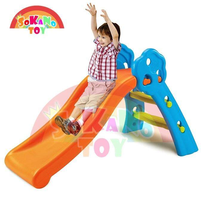 SOKANO TOY Mini Foldable Children Slide for Indoor and Outdoor - Blue