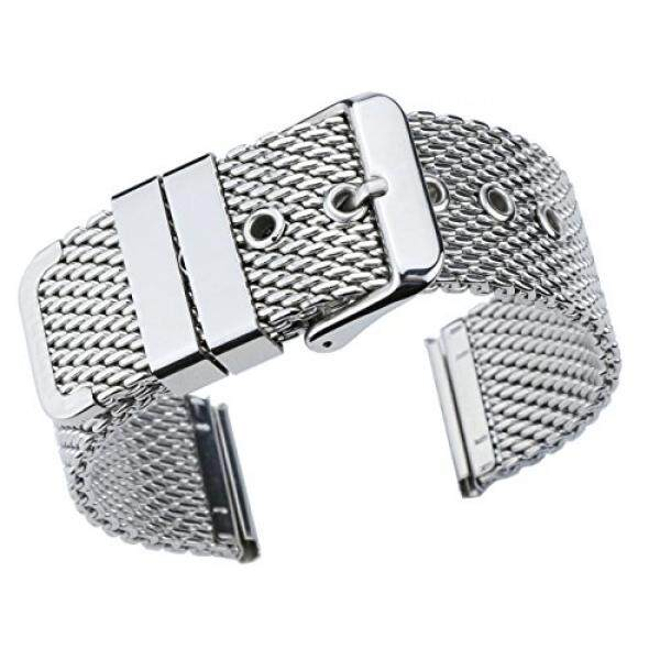 22mm Superior Silver Replacement Mesh Bracelet Watch Band Solid Stainless Steel Chain Watch Strap - intl
