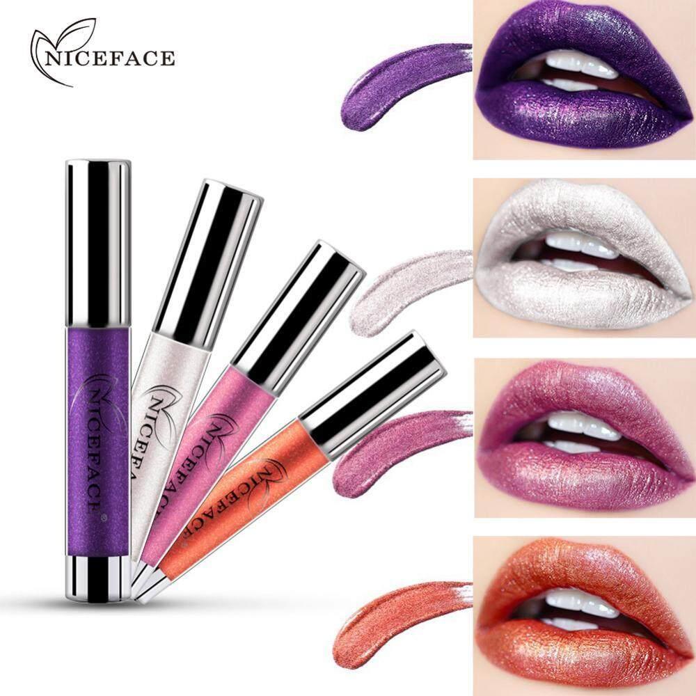 ... NICEFACE 7 Warna Metalik Bibir Gloss Logam Liquid Lipstik Anti-Air Warna Tidak Mengkilap Lipstik ...