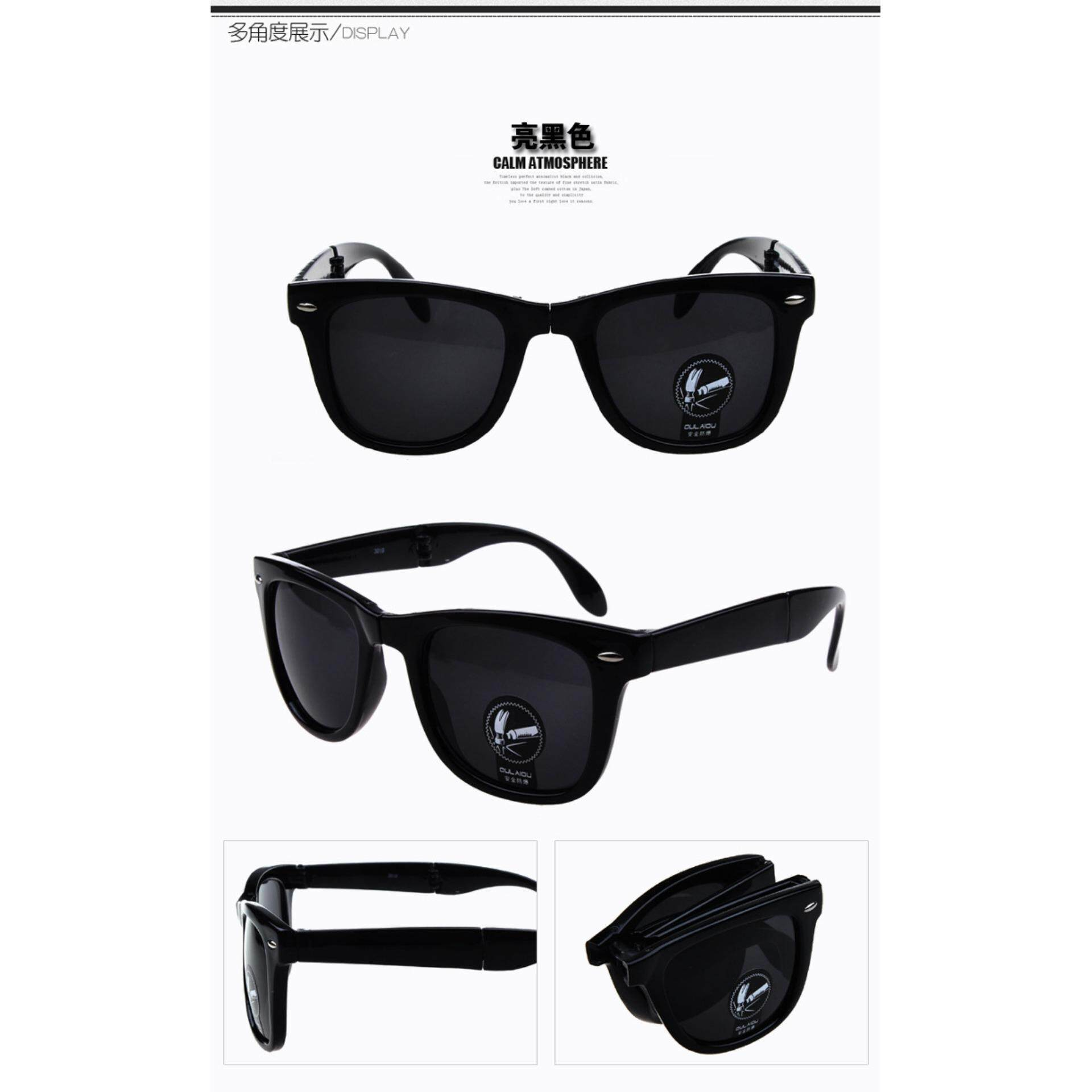 Explosion-proof safety folding sunglasses 3019 dazzling nails coated sunglasses + box black