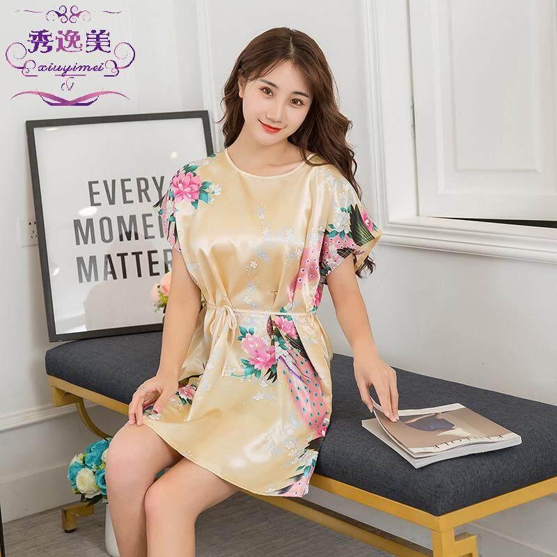 Bolster Store Silk Satin Sleepwear Pajamas Dress Comfortable Japanese Style Sleepwear Pyjamas Baju Tidur Malam Kain Selesa Wanita