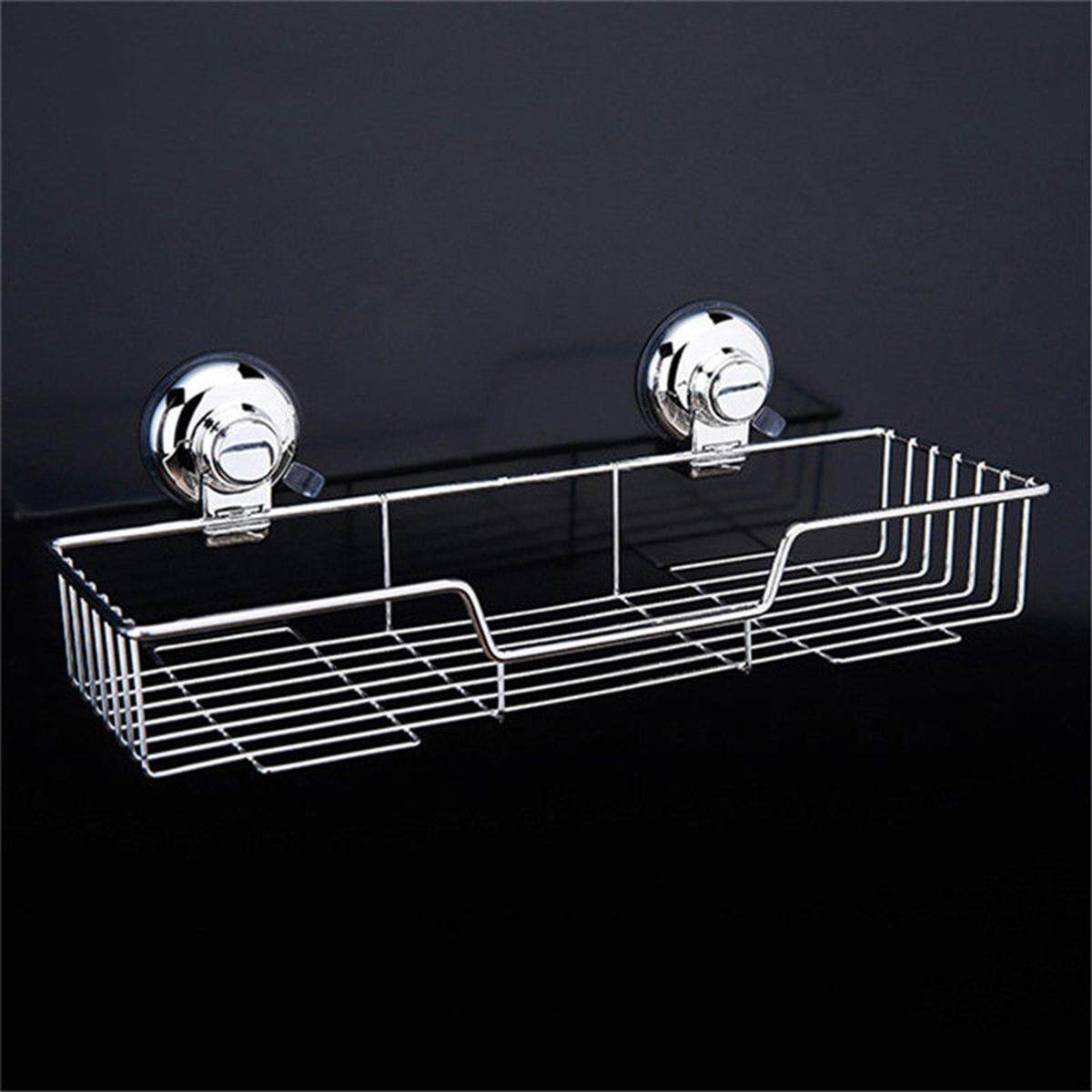 Stainless Steel Kitchen Bathroom Shower Shelf Storage Suction Basket Caddy Rack By Moonbeam.