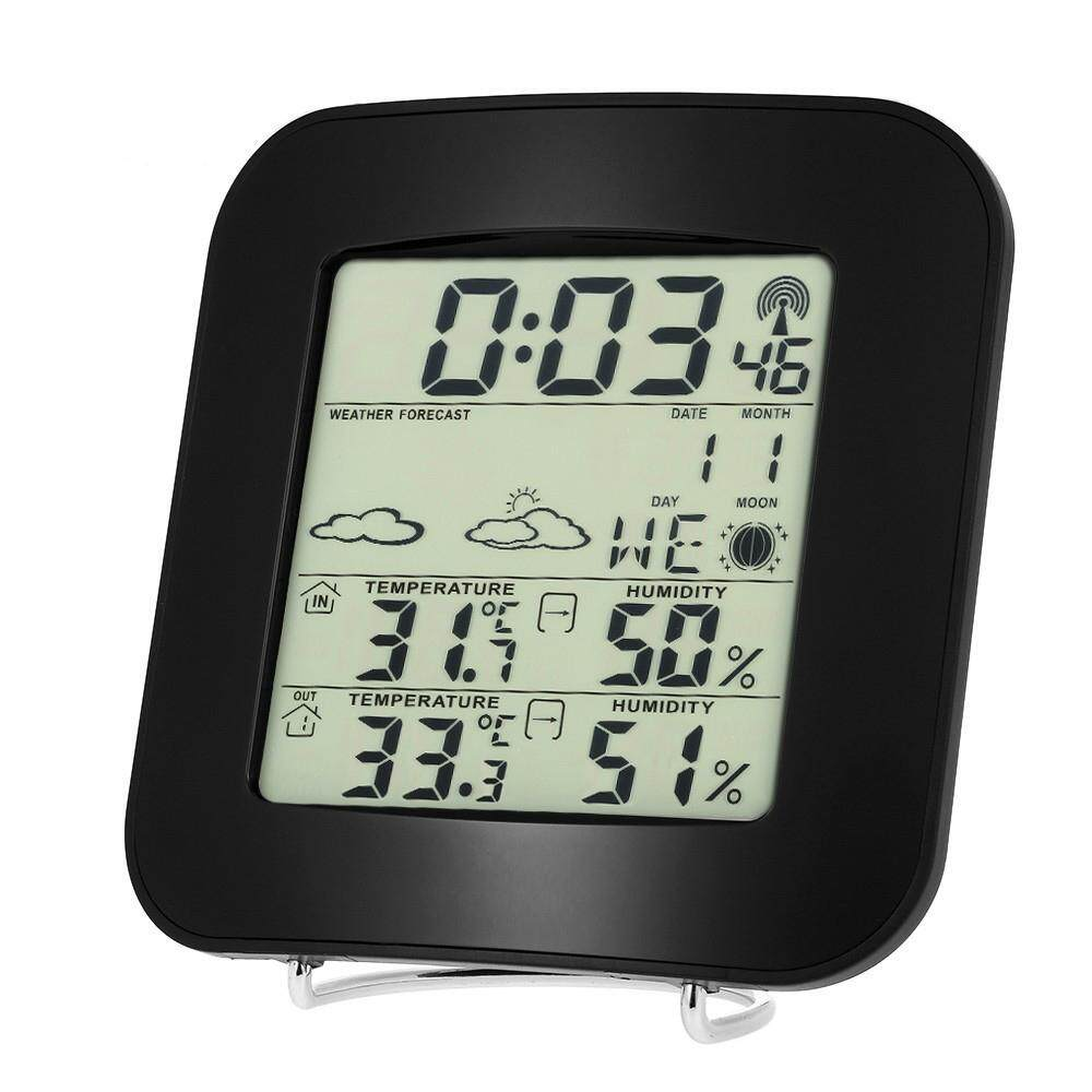 sisnop Wireless Weather Station Thermometer Clock Digital Temperature Humdity Meters Home Supplies