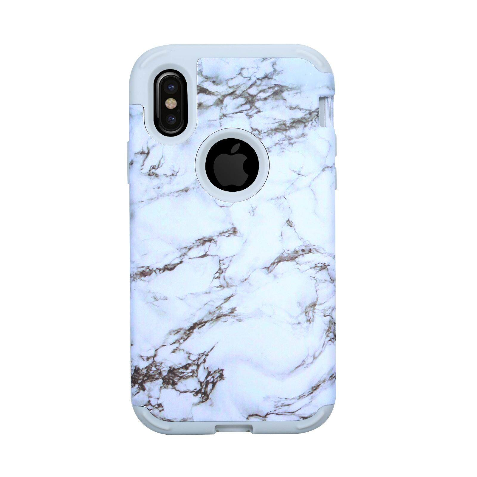Review Phone Case For Iphone X Marble Pattern Hybrid Armor Case Hard Pc Inner Soft Silicone Shock Absorption Cover Protective Shell Black Intl Happon On China