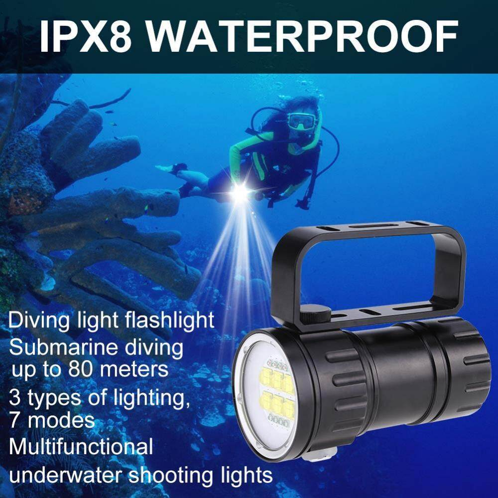 3.7V 28800Lm Photography Diving 80m Flashlight Torch with Bracket Stand - intl