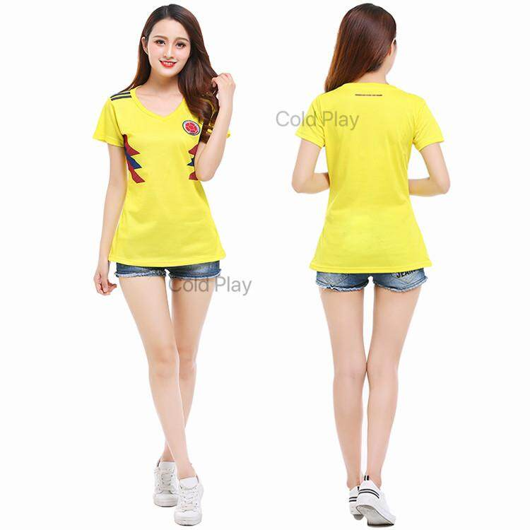 Compare Price Colombia Jersey 2018 World Cup Colombia National Team Home And Away Football Jersey T Shirt For Woman On China