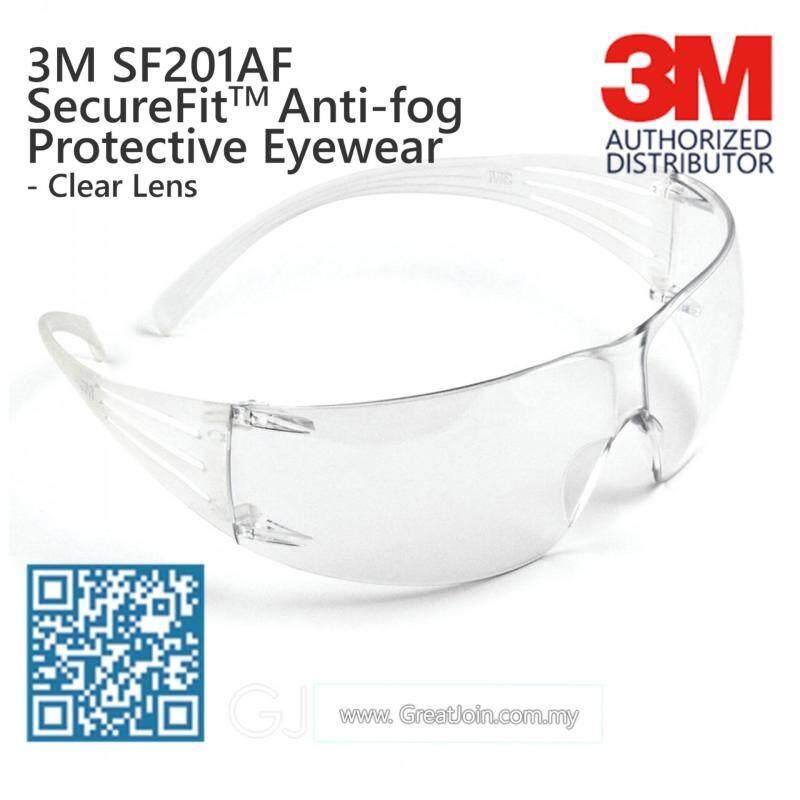 3M SF201AF SecureFit Lightest Safety Eyewear/ Safety Glasses Anti Fog [Clear Lens/ Clear Temple]