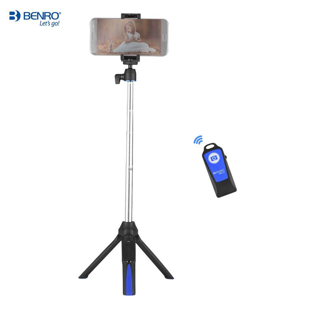 Benro MK10 Multifungsi Mini Tripod Meja Dapat Diperpanjang Selfie Stick Bluetooth Monopod Remote Dudukan Telepon untuk iPhone X 8 8 Plus untuk android Smartphone untuk Kamera Aksi GoPro-Intl
