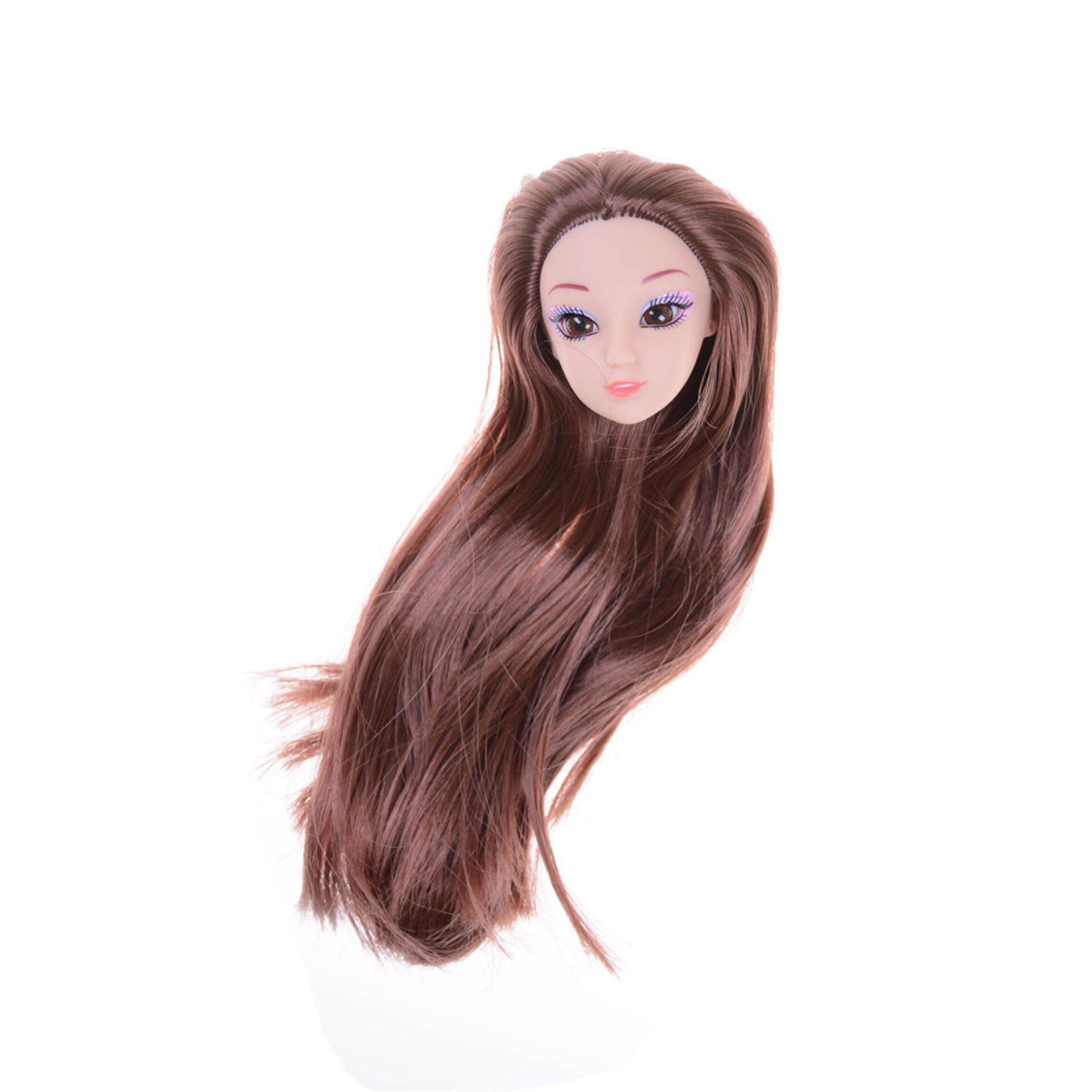 Barbie dolls 3D eyes head nake joints body doll head toys girls gift Brown - intl