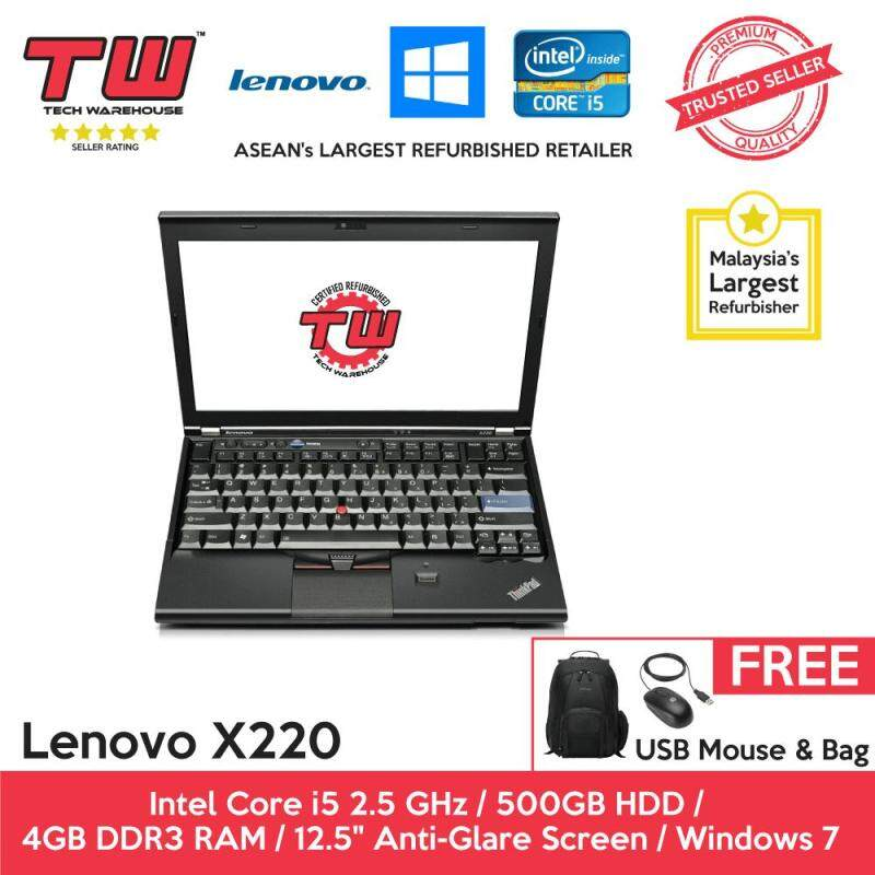 Lenovo X220 Core i5 2.5 GHz / 4GB RAM / 500GB HDD / Windows 7 Laptop / 3 Months Warranty (Factory Refurbished) Malaysia