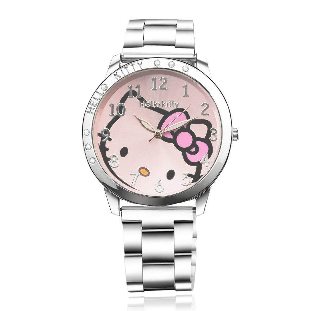 Girl Student Fashion Cartoon Cat Pink Dial Steel Strap Watch Women Cute Wrist Watch Children Casual Quartz Watch Malaysia