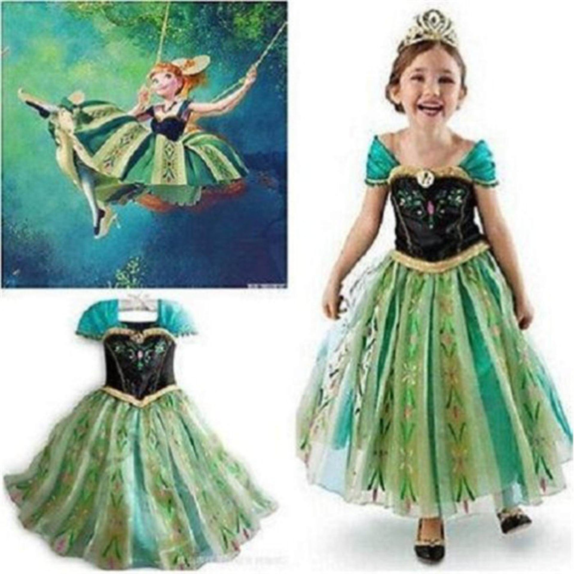 dd78390c7254 Catwalk Frozen Anna Costume Girls Queen Princess Cosplay Party Fancy Formal  Dress 2-9Y