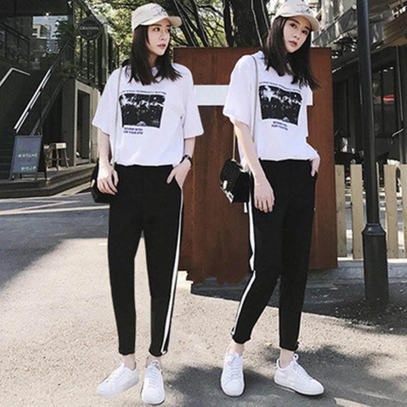 (Pre Order 14 days) JYS Fashion Korean Style Women Sport Wear Set Collection 540 - 8585 white top black pant