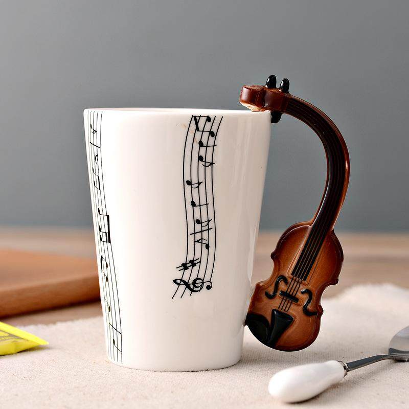 Novelty Guitar Ceramic Cup Music Note Milk Juice Lemon Mug Coffee Tea Cup Home Office Drinkware