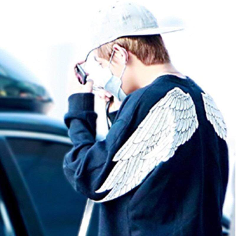 ... BTS Antipeluru Remaja Gaun Jin Taiheng Sayap Putih Sweater Wanita Hoodie Pria-Internasional - 4 ...