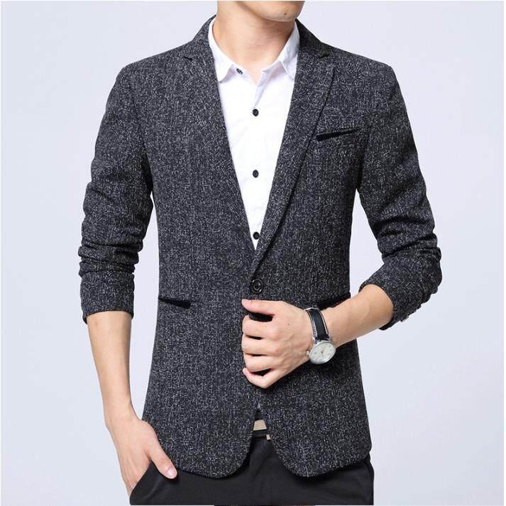 ... Men Business Blazer Casual Cotton Slim Korea Style Suit Blazer Masculino Male Suits Jacket Modern Men ...