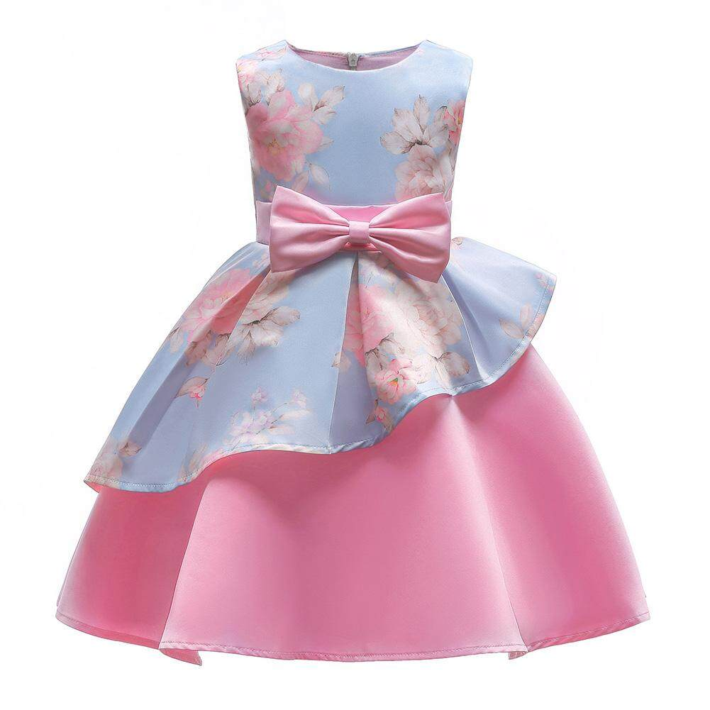 eb9eceb91adf7 Veecome Girls Bowknot Princess Dress with Irregular Skirt Hemline Skirt  Party Wedding Outfits