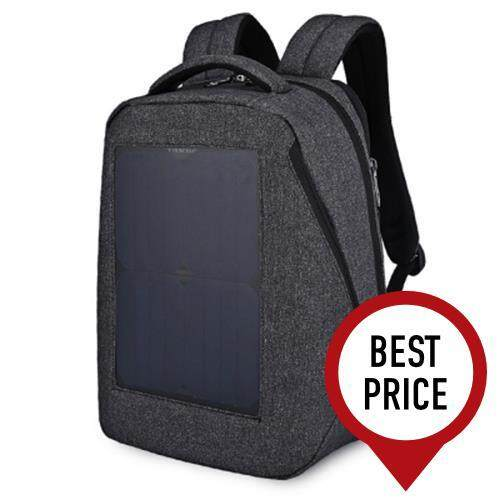 TIGERNU TB3164 WATER-RESISTANT 21L LEISURE BACKPACK LAPTOP BAG WITH SOLAR PANEL (FEATHER GRAY)