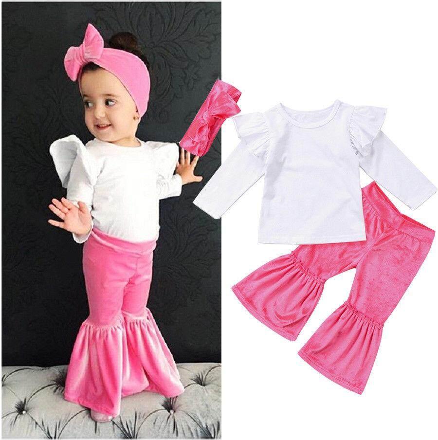 Kasual Bayi Anak-anak Gadis Pakaian Kapas Atasan Celana Ikat Kepala Set Outfits (Hadir