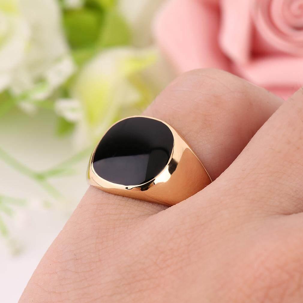 Oh Baja Logam Cincin 18 K Gold Berlapis Hitam Onyx Batu Keterlibatan Pernikahan-Internasional