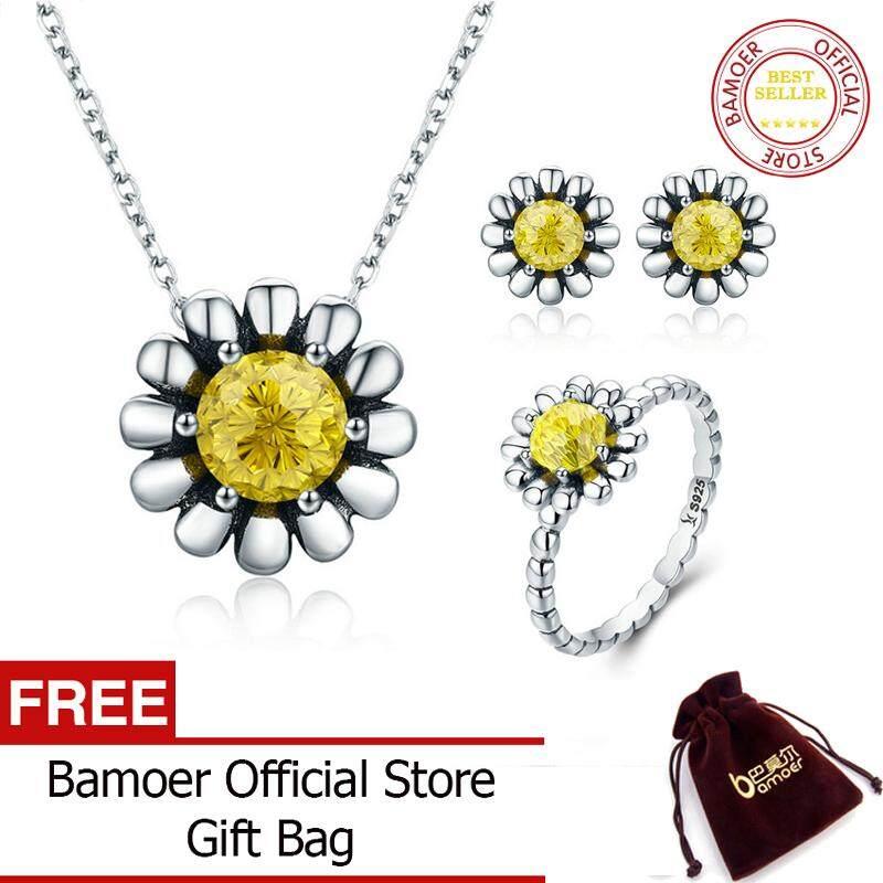 Bamoer Otentik 100% 925 Sterling Perak Bunga Aster Bunga Kuning CZ Anting-Anting Kalung Perhiasan Set Perhiasan Perak Sterling ZHS048