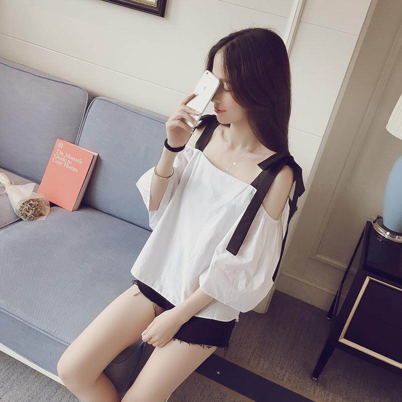 Hot Sell New Korean Fashion Loose Casual Off The Shoulder Short-sleeved Blouse Women Pure White Shirt - intl