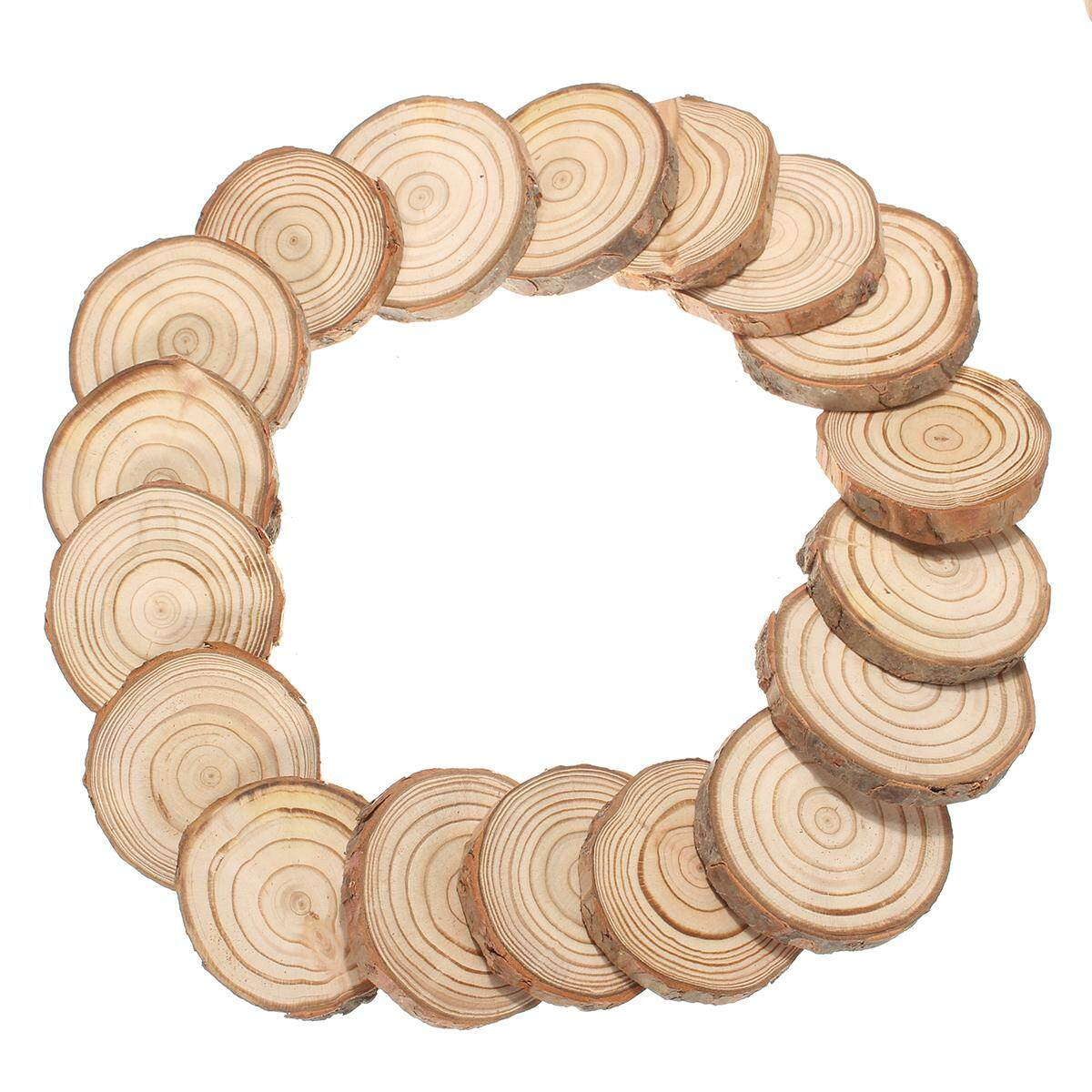 50pcs Rustic Natural Round Wood Pine Tree Slice Disc Wedding Centerpiece Decor[6-7x1cm] By Glimmer.
