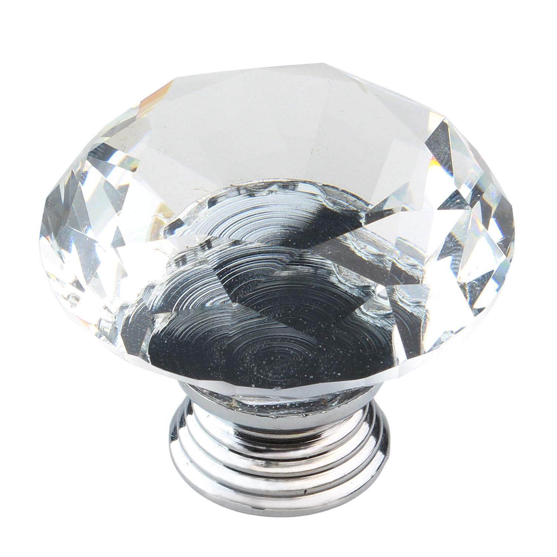 Xudzhe 40mm Diameter Crystal Glass Diamond Bentuk Kabinet Knob Lemari Laci Tarik Pegangan, Clear And Perak-Intl